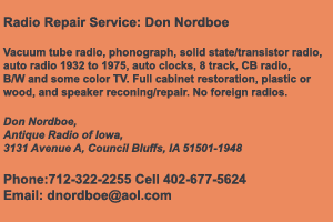 Don Nordboe Antique Radio Repair Services