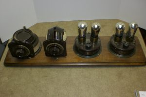 Atwater Kent Coupled Circuit Tuner, Variometer, Detector and One Stage Amplifier and 2 Stage Amplifier mounted on a Board