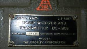 Crosley Military BC-1306 Label